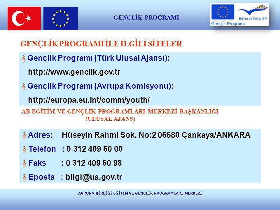AVRUPA BİRLİĞİ EĞİTİM VE GENÇLİK PROGRAMLARI MERKEZİ E ğ i t i m v e K ü l t ü r GENÇLİK PROGRAMI İLE İLGİLİ SİTELER § Gençlik Programı (Türk Ulusal A