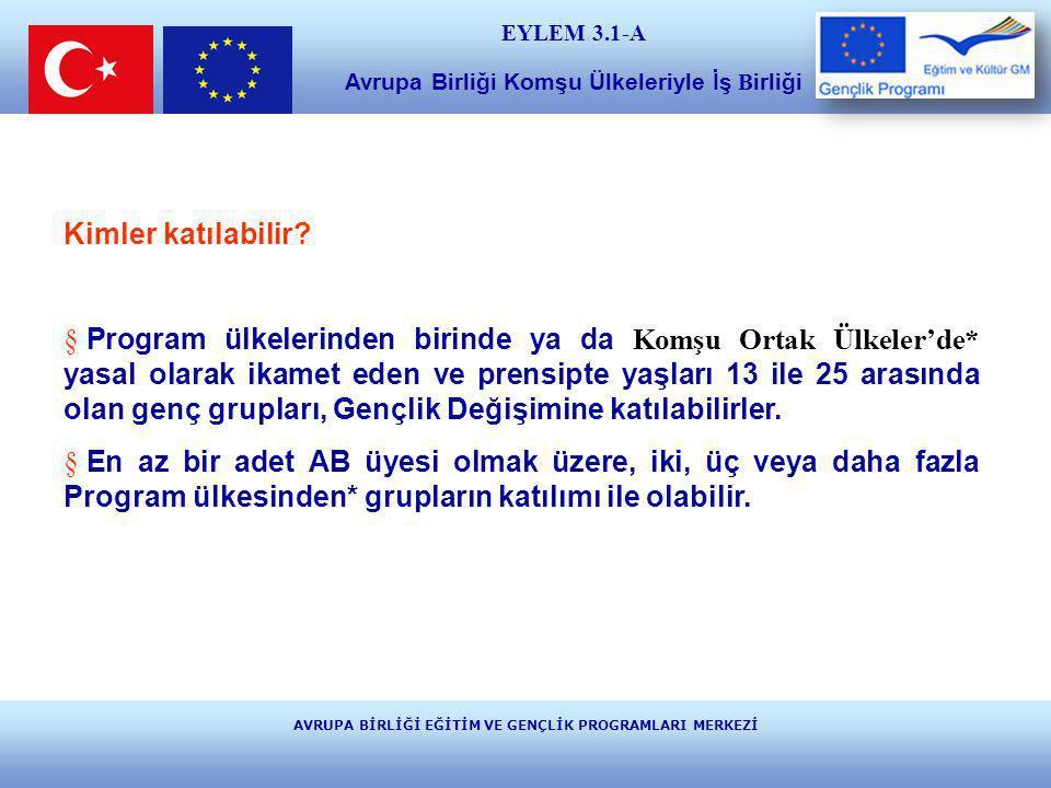 AVRUPA BİRLİĞİ EĞİTİM VE GENÇLİK PROGRAMLARI MERKEZİ E ğ i t i m v e K ü l t ü r ** Program Ülkeleri: 27 adet Avrupa Birliği (AB) Üyesi Ülke Avrupa Serbest Ticaret Alanı (EFTA) Ülkeleri:Norveç, İzlanda, Lihtenştayn Adaylık sürecindeki ülke: Türkiye EYLEM 3.1-A Avrupa Birliği Komşu Ülkeleriyle İş B irliği *Komşu Ortak Ülkeler