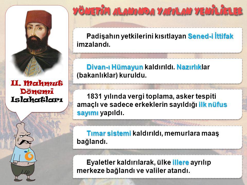 II. Mahmut Dönemi Islahatları Asakir-i Mansure-i Muhammediye Ordusu Kaldırılan Yeniçeri Ocağının yerine Asakir-i Mansure-i Muhammediye Ordusu kuruldu.