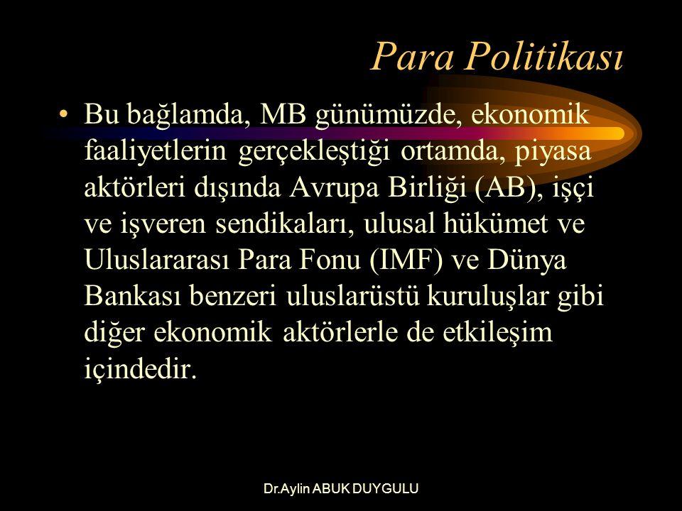Dr.Aylin ABUK DUYGULU Para Politikası Para politikası süreci, politika yapım ve uygulama süreçlerini içermekte ve özel bir terminoloji kullanmaktadır.
