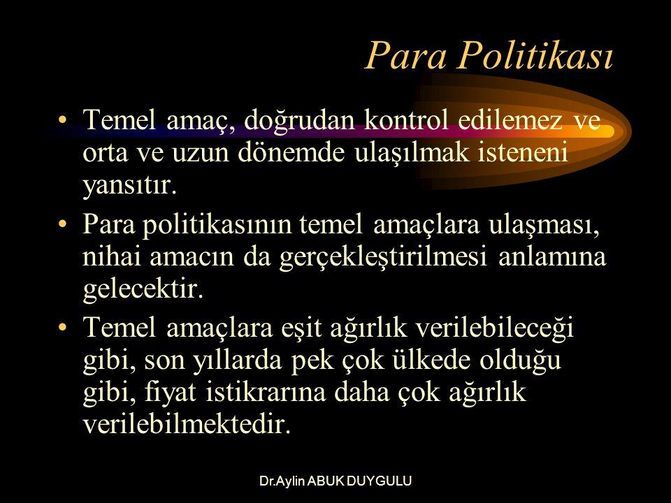 Dr.Aylin ABUK DUYGULU Para Politikası Para politikası hedefleri, ara ve operasyonel hedeflerden oluşur.