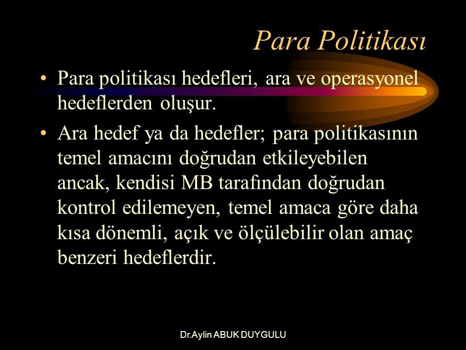 Dr.Aylin ABUK DUYGULU Para Politikası Ara hedef, temel amaç ile politika araçları arasında bir yerdedir.