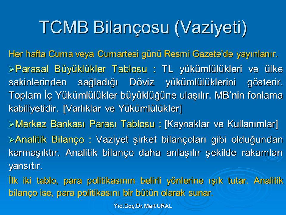 Yrd.Doç.Dr. Mert URAL TCMB Bilançosu (Vaziyeti) Her hafta Cuma veya Cumartesi günü Resmi Gazete'de yayınlanır.  Parasal Büyüklükler Tablosu : TL yükü