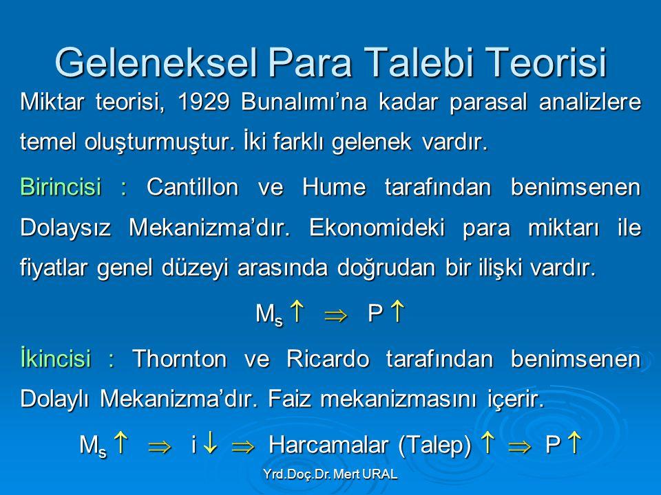 Yrd.Doç.Dr. Mert URAL Geleneksel Para Talebi Teorisi Miktar teorisi, 1929 Bunalımı'na kadar parasal analizlere temel oluşturmuştur. İki farklı gelenek