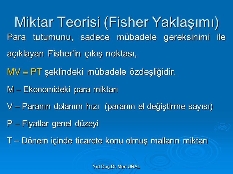 Yrd.Doç.Dr. Mert URAL Miktar Teorisi (Fisher Yaklaşımı) Para tutumunu, sadece mübadele gereksinimi ile açıklayan Fisher'in çıkış noktası, MV  PT şekl