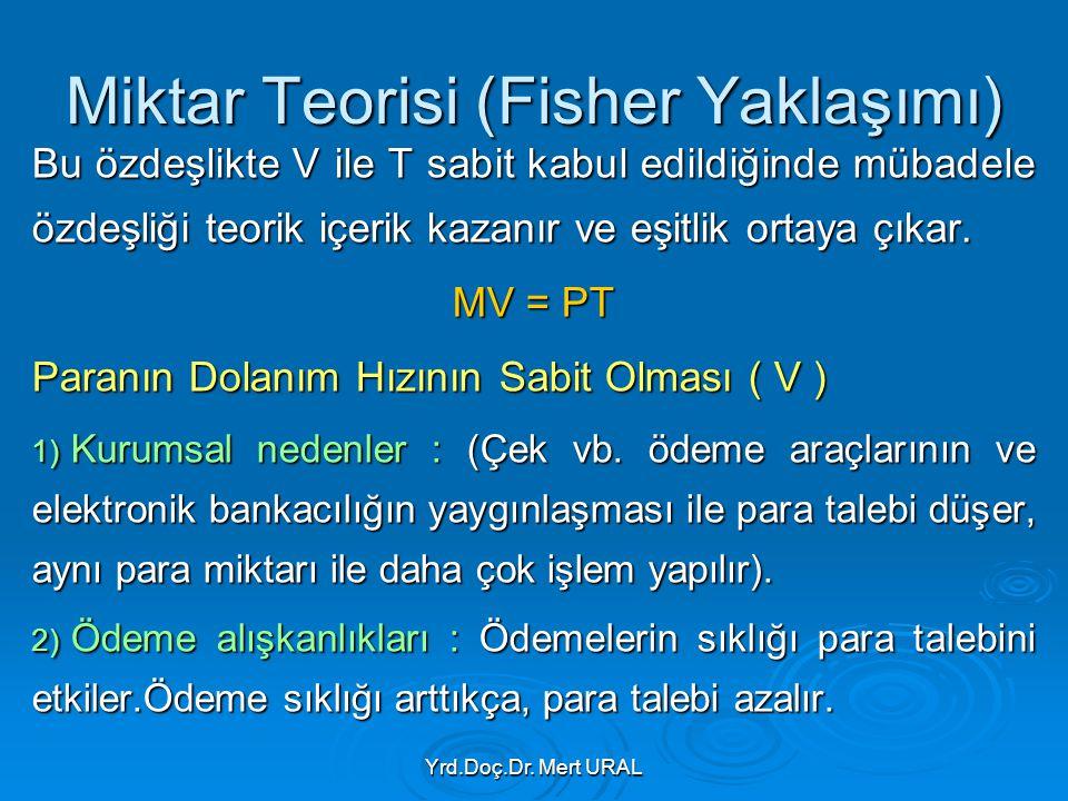 Yrd.Doç.Dr. Mert URAL Miktar Teorisi (Fisher Yaklaşımı) Bu özdeşlikte V ile T sabit kabul edildiğinde mübadele özdeşliği teorik içerik kazanır ve eşit