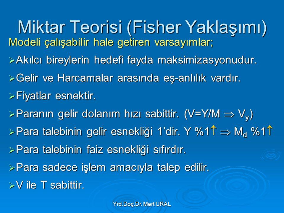 Yrd.Doç.Dr. Mert URAL Miktar Teorisi (Fisher Yaklaşımı) Modeli çalışabilir hale getiren varsayımlar;  Akılcı bireylerin hedefi fayda maksimizasyonudu