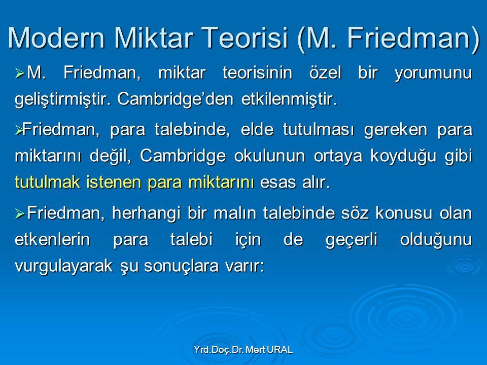 Yrd.Doç.Dr. Mert URAL Modern Miktar Teorisi (M. Friedman)  M. Friedman, miktar teorisinin özel bir yorumunu geliştirmiştir. Cambridge'den etkilenmişt