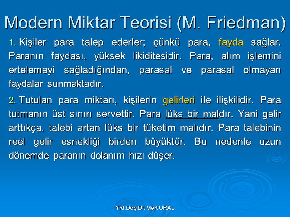 Yrd.Doç.Dr. Mert URAL Modern Miktar Teorisi (M. Friedman) 1. Kişiler para talep ederler; çünkü para, fayda sağlar. Paranın faydası, yüksek likiditesid