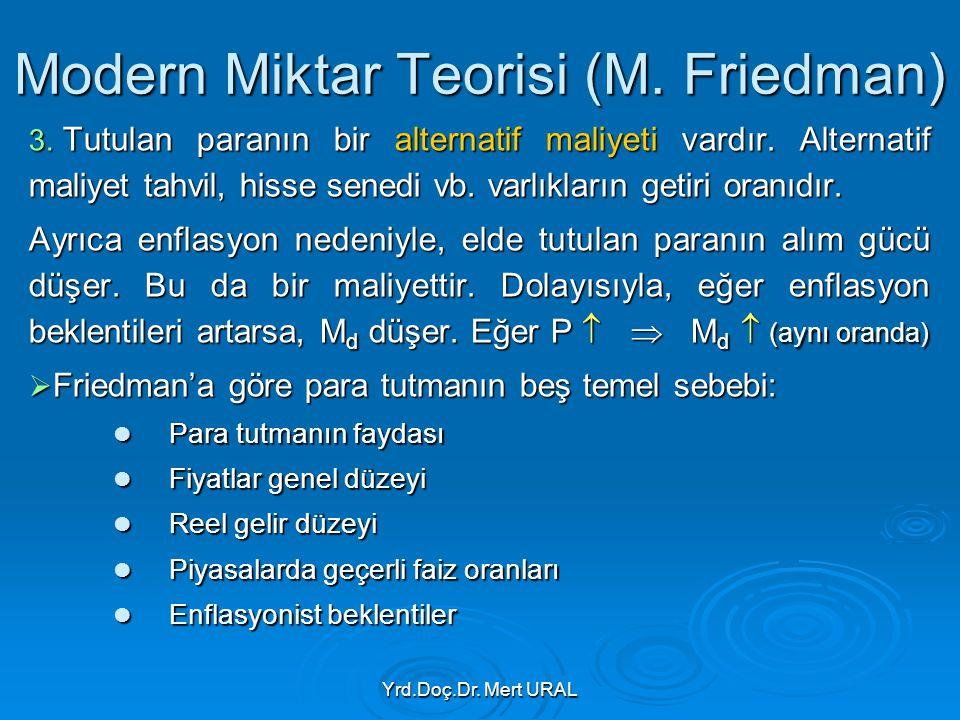 Yrd.Doç.Dr. Mert URAL Modern Miktar Teorisi (M. Friedman) 3. Tutulan paranın bir alternatif maliyeti vardır. Alternatif maliyet tahvil, hisse senedi v