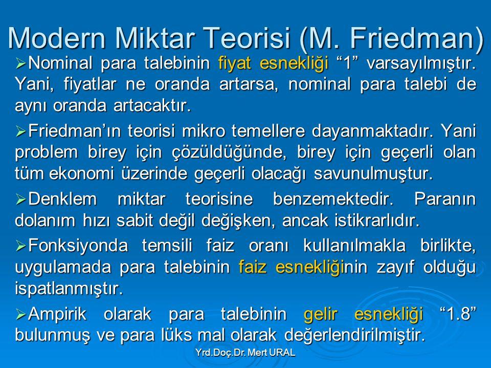 """Yrd.Doç.Dr. Mert URAL Modern Miktar Teorisi (M. Friedman)  Nominal para talebinin fiyat esnekliği """"1"""" varsayılmıştır. Yani, fiyatlar ne oranda artars"""