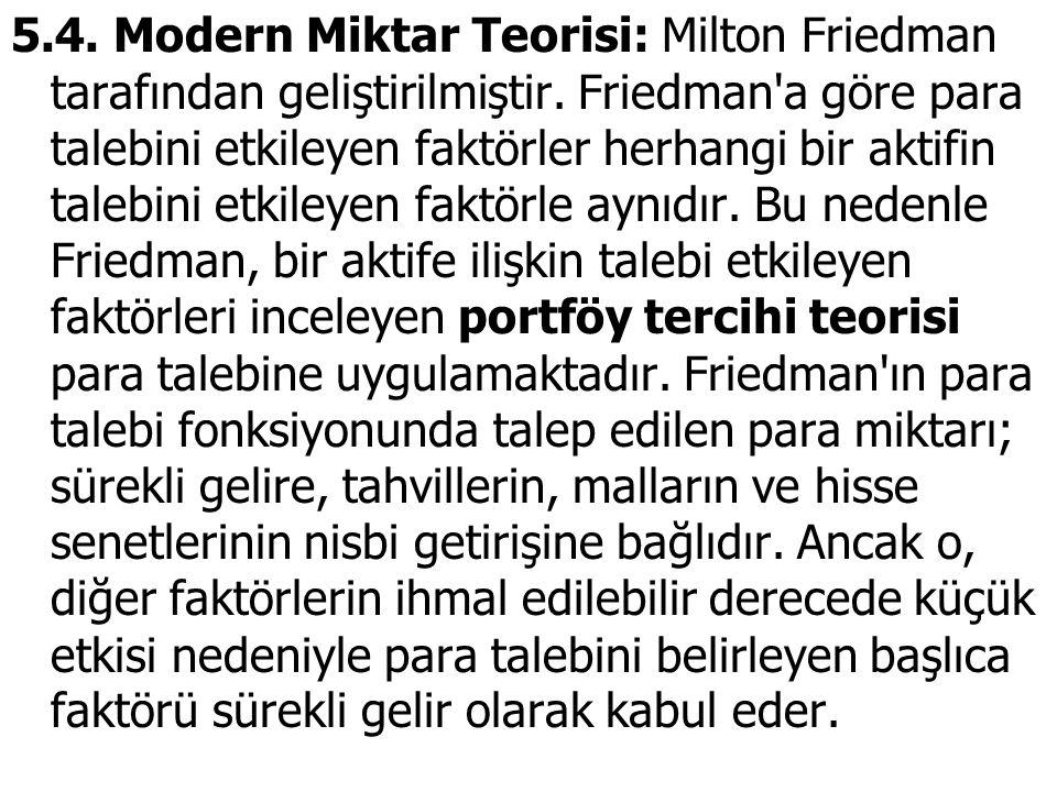 5.4. Modern Miktar Teorisi: Milton Friedman tarafından geliştirilmiştir. Friedman'a göre para talebini etkileyen faktörler herhangi bir aktifin talebi