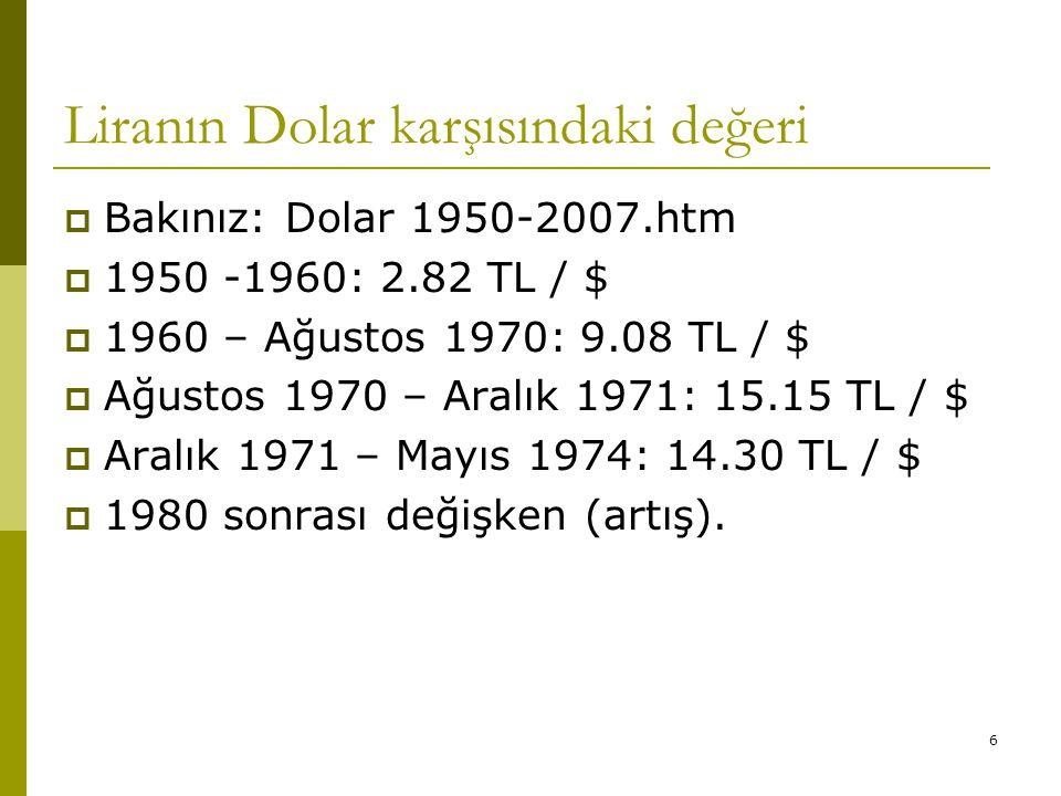 6 Liranın Dolar karşısındaki değeri  Bakınız: Dolar 1950-2007.htm  1950 -1960: 2.82 TL / $  1960 – Ağustos 1970: 9.08 TL / $  Ağustos 1970 – Aralı
