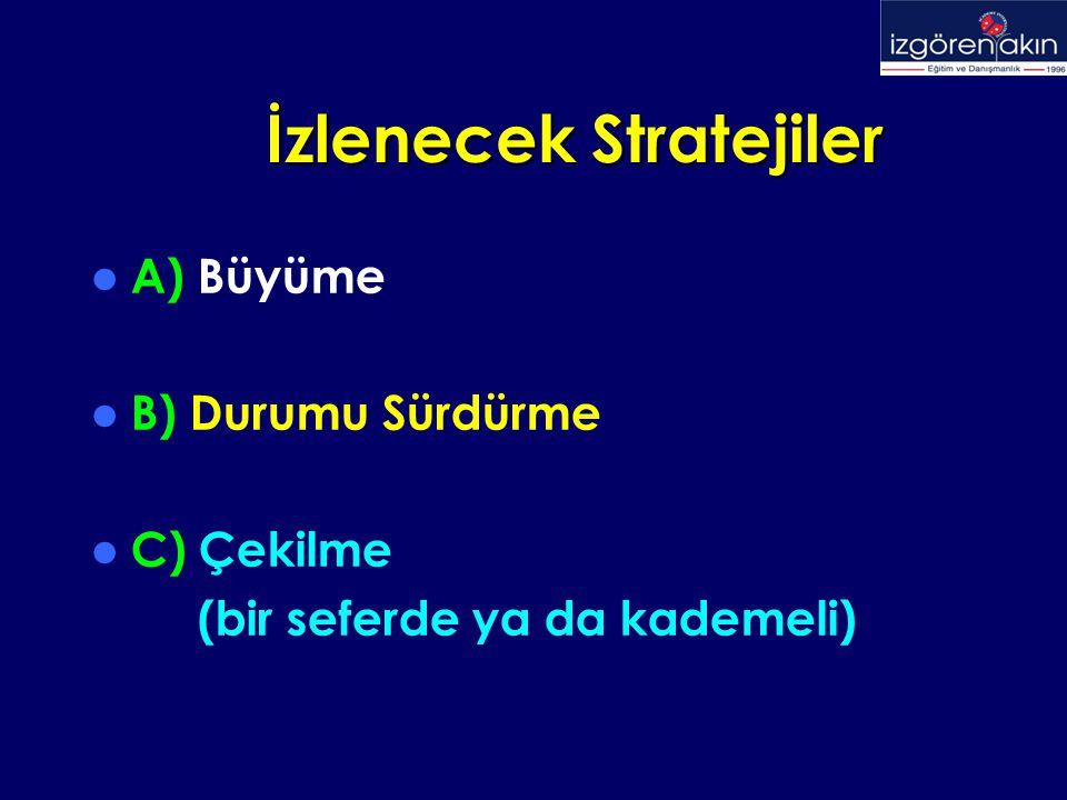 İzlenecek Stratejiler İzlenecek Stratejiler A) Büyüme B) Durumu Sürdürme C) Çekilme (bir seferde ya da kademeli)