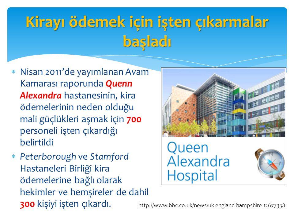 Kirayı ödemek için işten çıkarmalar başladı  Nisan 2011'de yayımlanan Avam Kamarası raporunda Quenn Alexandra hastanesinin, kira ödemelerinin neden o