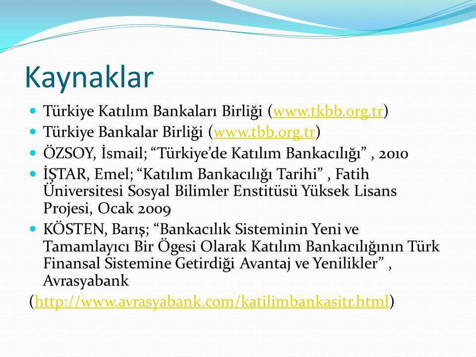 """Kaynaklar Türkiye Katılım Bankaları Birliği (www.tkbb.org.tr)www.tkbb.org.tr Türkiye Bankalar Birliği (www.tbb.org.tr)www.tbb.org.tr ÖZSOY, İsmail; """"T"""