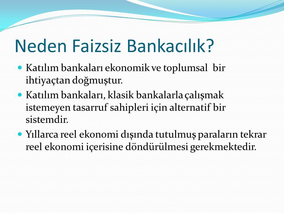Neden Faizsiz Bankacılık? Katılım bankaları ekonomik ve toplumsal bir ihtiyaçtan doğmuştur. Katılım bankaları, klasik bankalarla çalışmak istemeyen ta