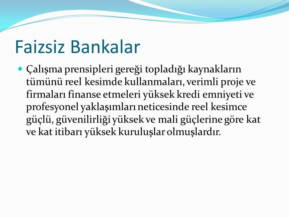 Krizlere Karşı Ayakta Kalmışlardır 2001 krizinde 23 tane geleneksel banka batarken, 1 tane katılım bankası batmıştır.
