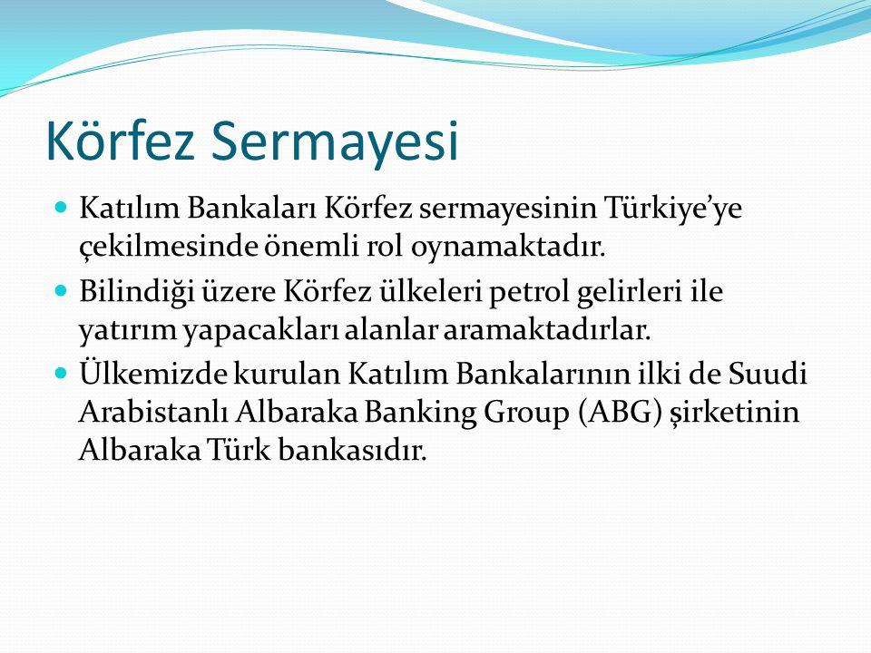 Körfez Sermayesi Katılım Bankaları Körfez sermayesinin Türkiye'ye çekilmesinde önemli rol oynamaktadır. Bilindiği üzere Körfez ülkeleri petrol gelirle