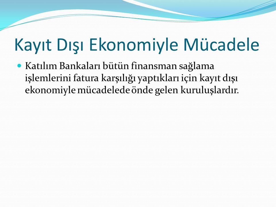 Kayıt Dışı Ekonomiyle Mücadele Katılım Bankaları bütün finansman sağlama işlemlerini fatura karşılığı yaptıkları için kayıt dışı ekonomiyle mücadelede