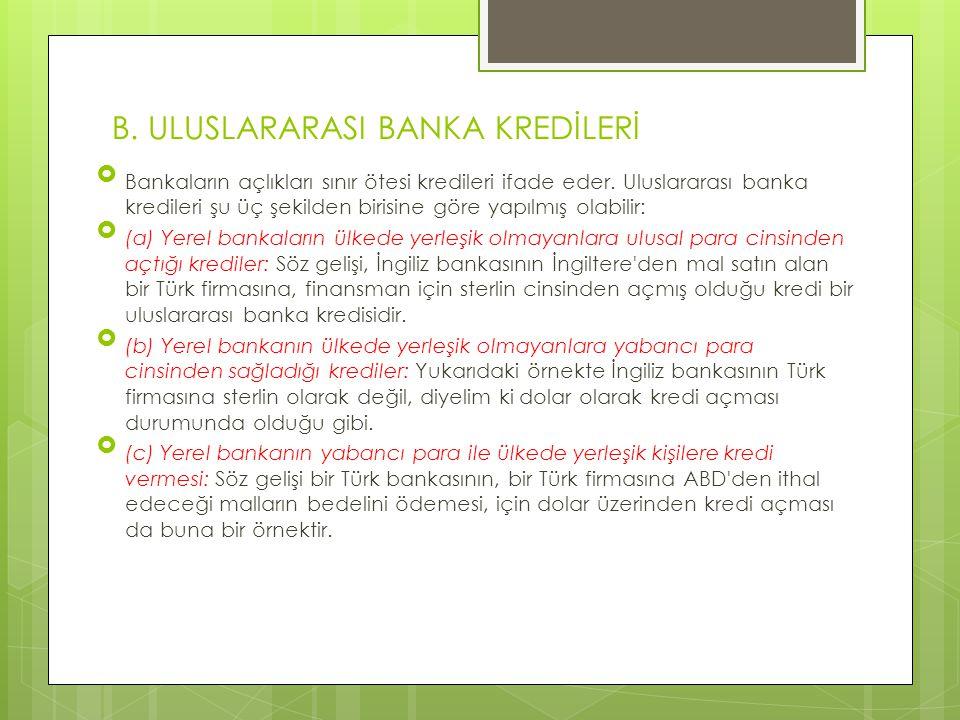 B. ULUSLARARASI BANKA KREDİLERİ  Bankaların açlıkları sınır ötesi kredileri ifade eder. Uluslararası banka kredileri şu üç şekilden birisine göre yap