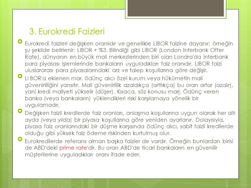 3. Eurokredi Faizleri  Eurokredi faizleri değişken oranlıdır ve genellikle LIBOR faizine dayanır; örneğin şu şekilde belirlenir: LIBOR + %3. Bilindiğ