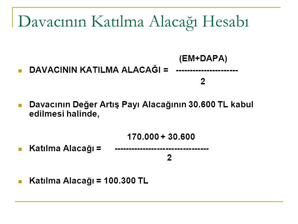Davacının Katılma Alacağı Hesabı (EM+DAPA) DAVACININ KATILMA ALACAĞI = ---------------------- 2 Davacının Değer Artış Payı Alacağının 30.600 TL kabul