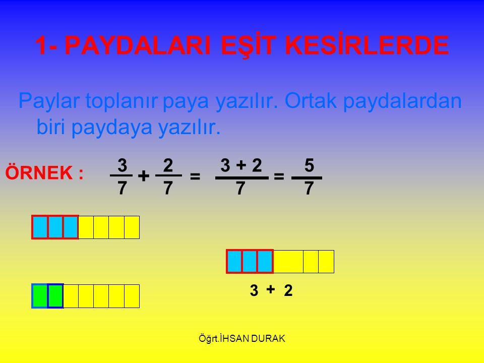 Öğrt.İHSAN DURAK 1- PAYDALARI EŞİT KESİRLERDE Paylar toplanır paya yazılır. Ortak paydalardan biri paydaya yazılır. 3737 2727 + ÖRNEK : = 3 + 2 7 = 5