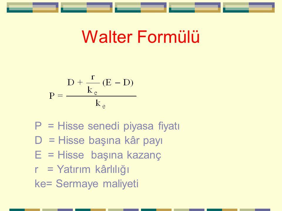 Walter Formülü P = Hisse senedi piyasa fiyatı D = Hisse başına kâr payı E = Hisse başına kazanç r = Yatırım kârlılığı ke= Sermaye maliyeti