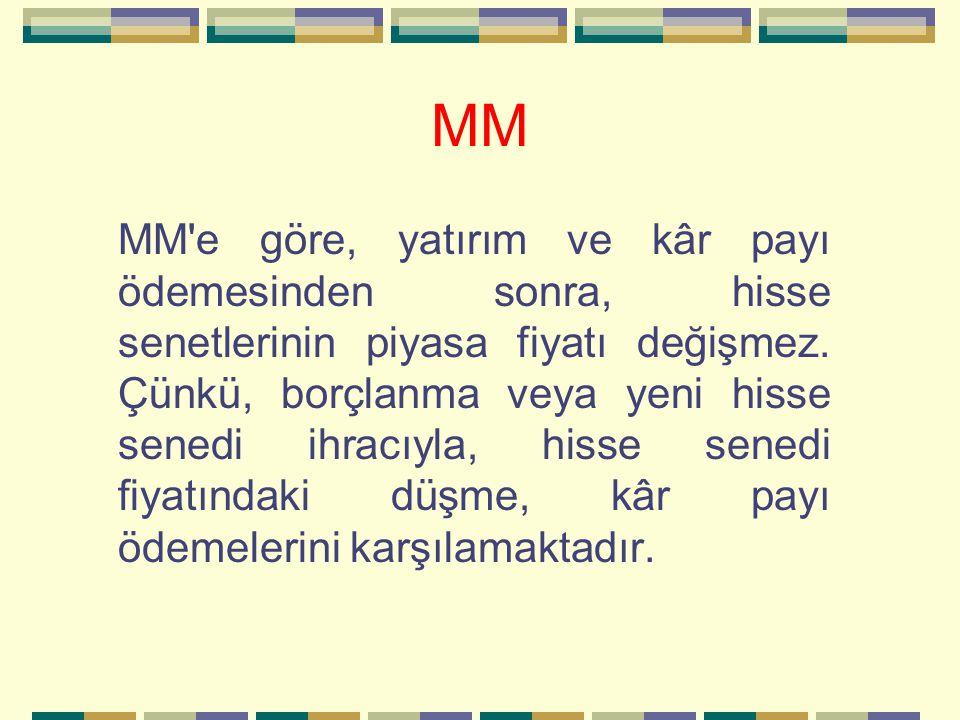 MM MM'e göre, yatırım ve kâr payı ödemesinden sonra, hisse senetlerinin piyasa fiyatı değişmez. Çünkü, borçlanma veya yeni hisse senedi ihracıyla, his