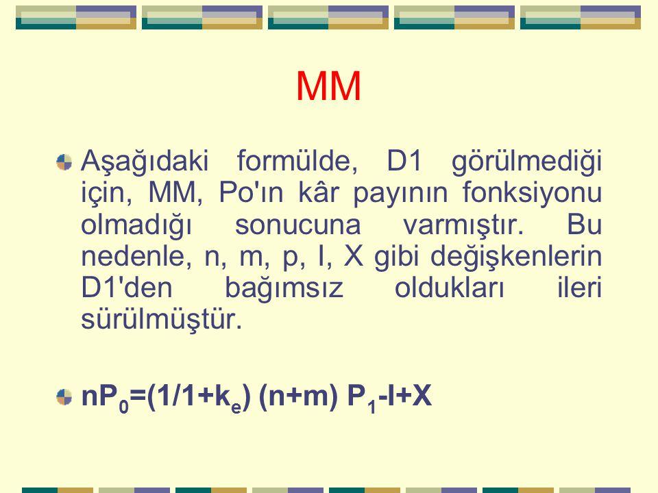 MM Aşağıdaki formülde, D1 görülmediği için, MM, Po'ın kâr payının fonksiyonu olmadığı sonucuna varmıştır. Bu nedenle, n, m, p, I, X gibi değişkenlerin