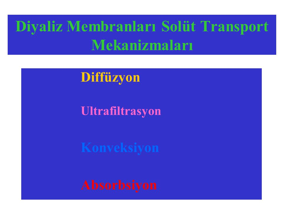 Diyaliz Membranları Solüt Transport Mekanizmaları Diffüzyon Ultrafiltrasyon Konveksiyon Absorbsiyon
