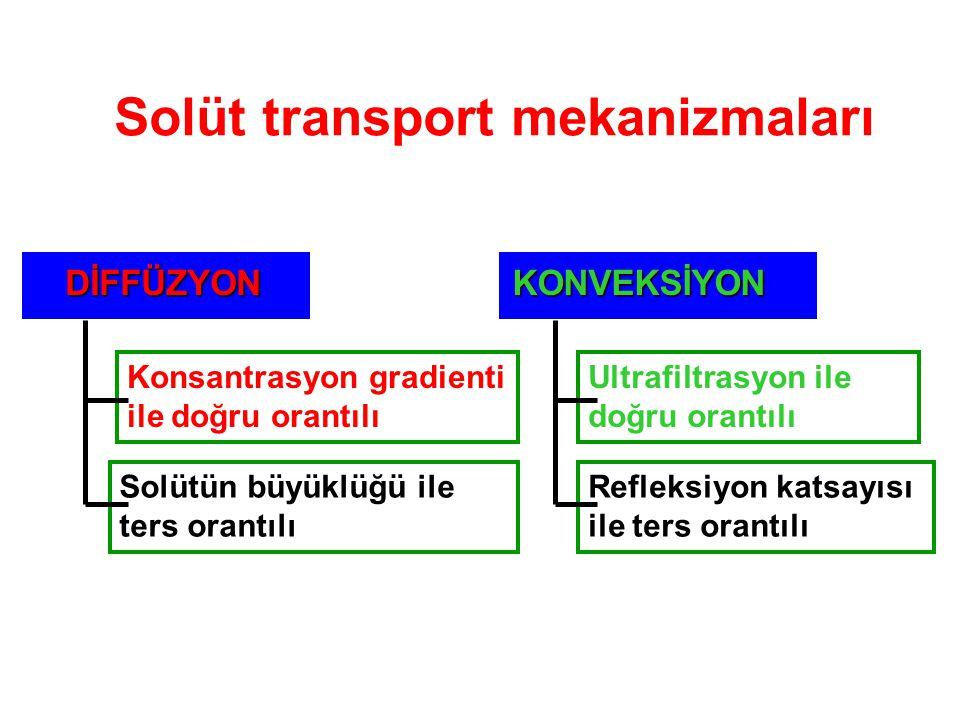 Solüt transport mekanizmaları DİFFÜZYON DİFFÜZYON Konsantrasyon gradienti ile doğru orantılı Solütün büyüklüğü ile ters orantılı KONVEKSİYON Ultrafilt