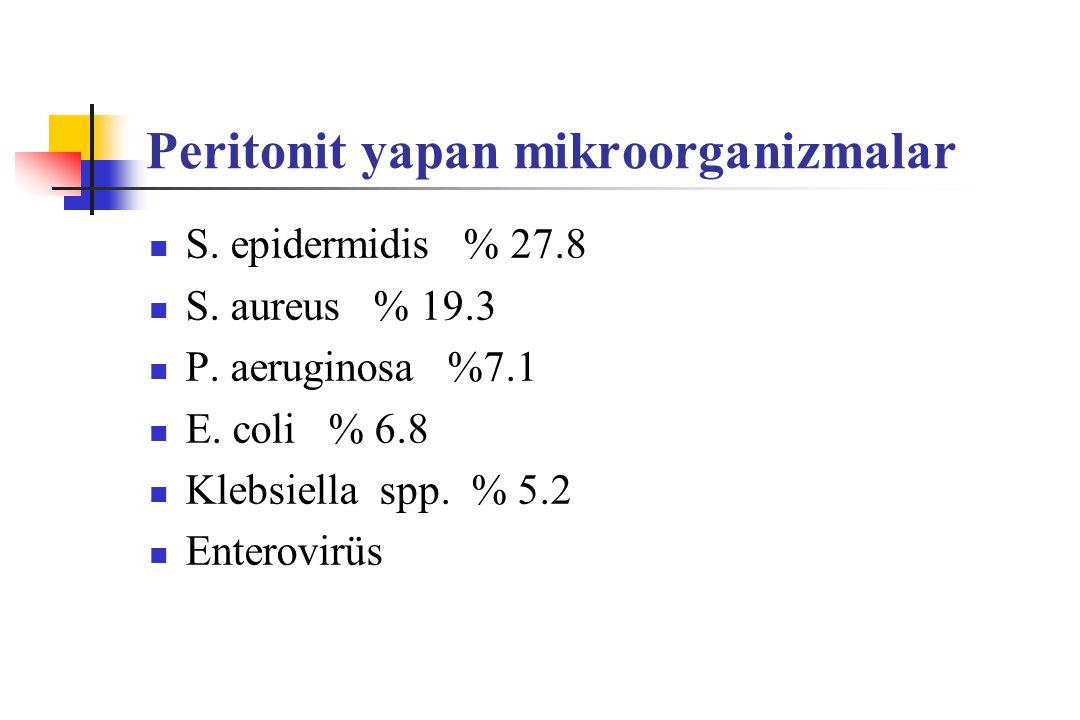 Peritonit yapan mikroorganizmalar S. epidermidis % 27.8 S. aureus % 19.3 P. aeruginosa %7.1 E. coli % 6.8 Klebsiella spp. % 5.2 Enterovirüs