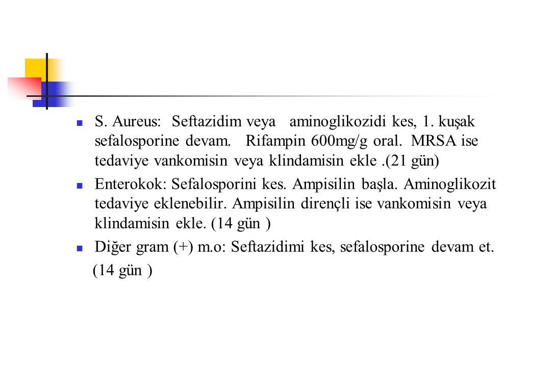 S. Aureus: Seftazidim veya aminoglikozidi kes, 1. kuşak sefalosporine devam. Rifampin 600mg/g oral. MRSA ise tedaviye vankomisin veya klindamisin ekle