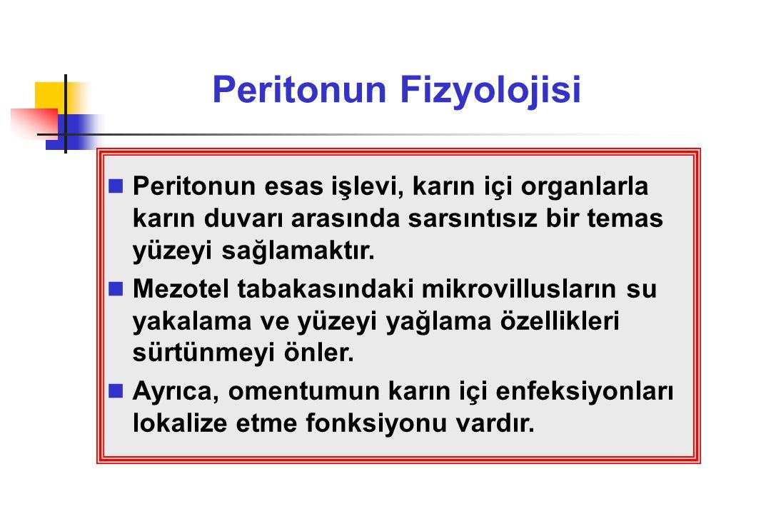 Peritonun Fizyolojisi Peritonun esas işlevi, karın içi organlarla karın duvarı arasında sarsıntısız bir temas yüzeyi sağlamaktır. Mezotel tabakasındak