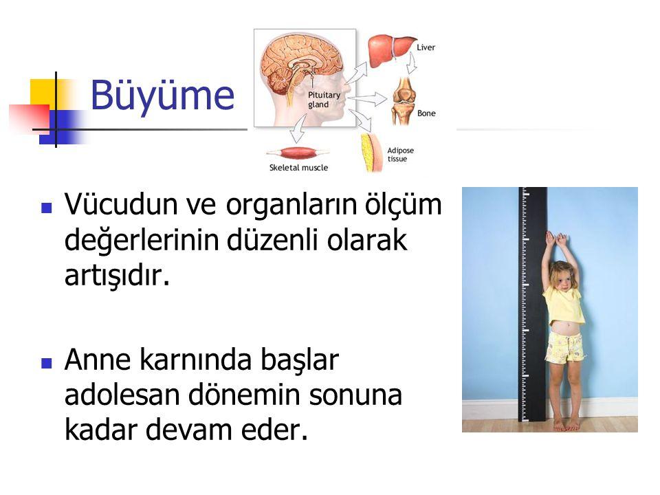 Büyüme Vücudun ve organların ölçüm değerlerinin düzenli olarak artışıdır. Anne karnında başlar adolesan dönemin sonuna kadar devam eder.