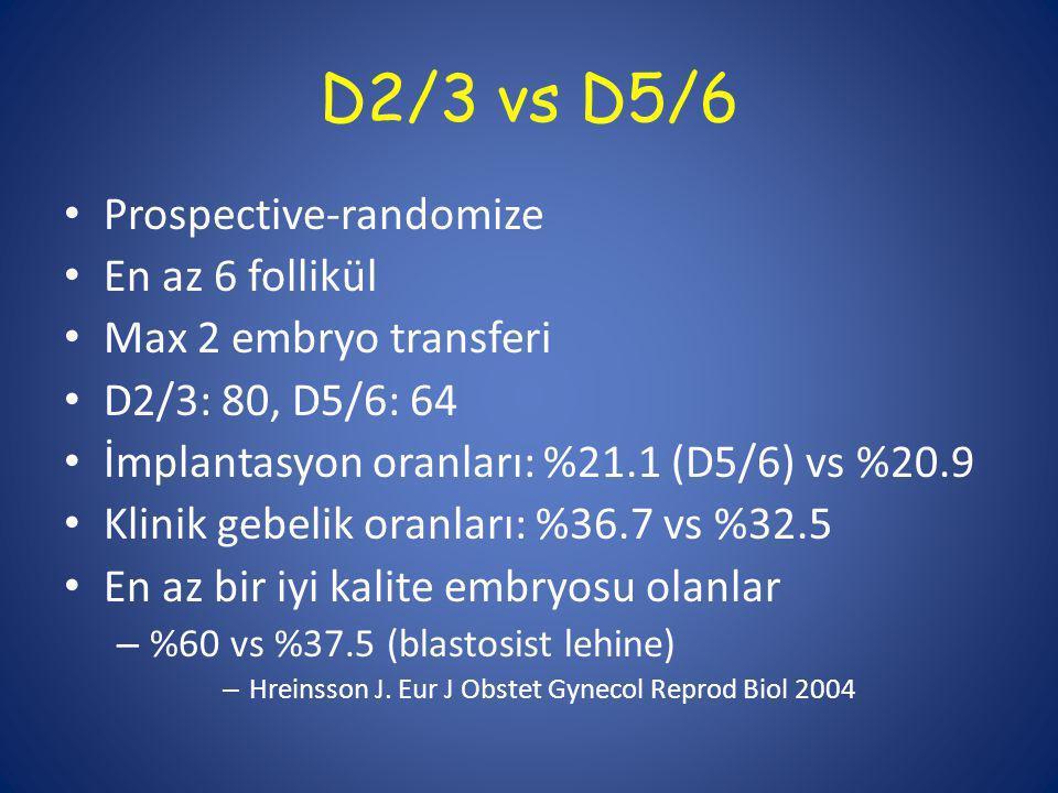D2/3 vs D5/6 Prospective-randomize En az 6 follikül Max 2 embryo transferi D2/3: 80, D5/6: 64 İmplantasyon oranları: %21.1 (D5/6) vs %20.9 Klinik gebelik oranları: %36.7 vs %32.5 En az bir iyi kalite embryosu olanlar – %60 vs %37.5 (blastosist lehine) – Hreinsson J.