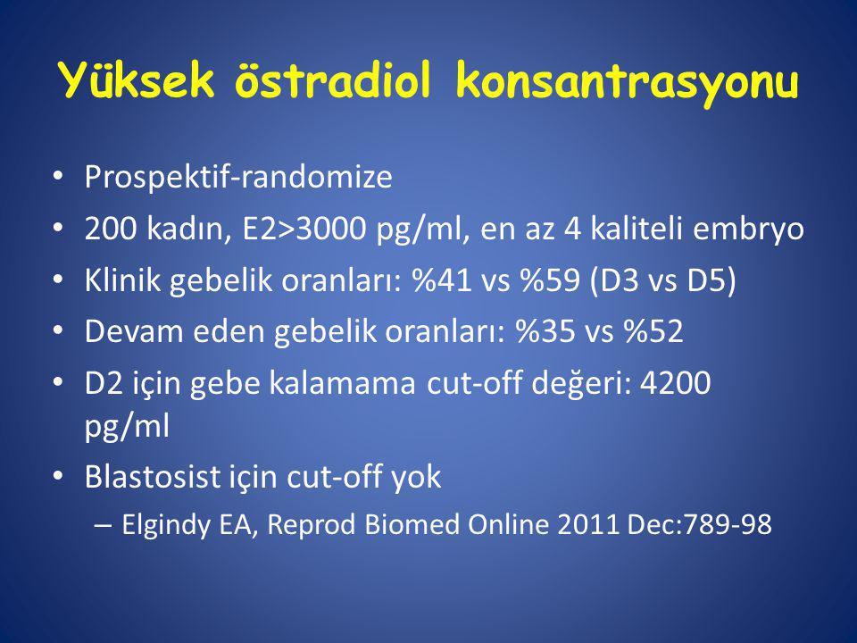 Yüksek östradiol konsantrasyonu Prospektif-randomize 200 kadın, E2>3000 pg/ml, en az 4 kaliteli embryo Klinik gebelik oranları: %41 vs %59 (D3 vs D5) Devam eden gebelik oranları: %35 vs %52 D2 için gebe kalamama cut-off değeri: 4200 pg/ml Blastosist için cut-off yok – Elgindy EA, Reprod Biomed Online 2011 Dec:789-98
