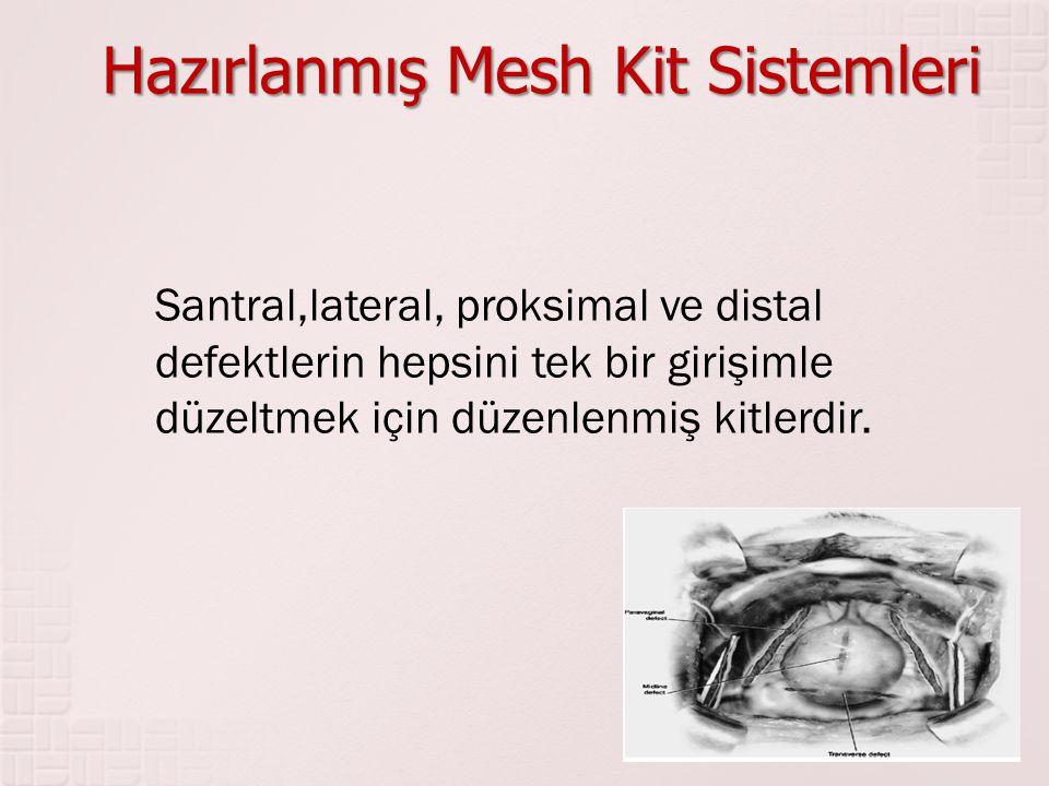 Hazırlanmış Mesh Kit Sistemleri Santral,lateral, proksimal ve distal defektlerin hepsini tek bir girişimle düzeltmek için düzenlenmiş kitlerdir.