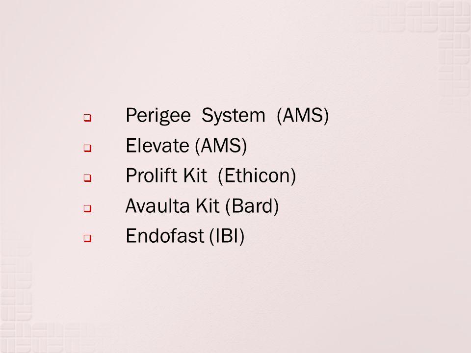  Perigee System (AMS)  Elevate (AMS)  Prolift Kit (Ethicon)  Avaulta Kit (Bard)  Endofast (IBI)