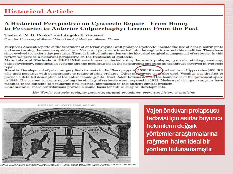 Vajen önduvarı prolapsusu tedavisi için asırlar boyunca hekimlerin değişik yöntemler araştırmalarına rağmen halen ideal bir yöntem bulunamamıştır.