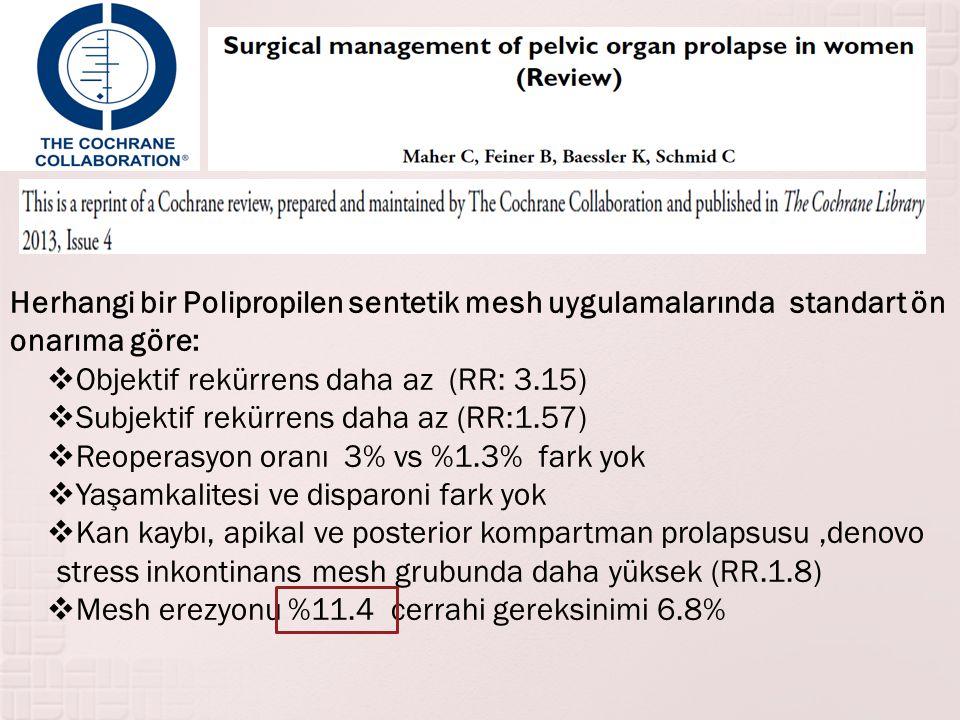 Herhangi bir Polipropilen sentetik mesh uygulamalarında standart ön onarıma göre:  Objektif rekürrens daha az (RR: 3.15)  Subjektif rekürrens daha a