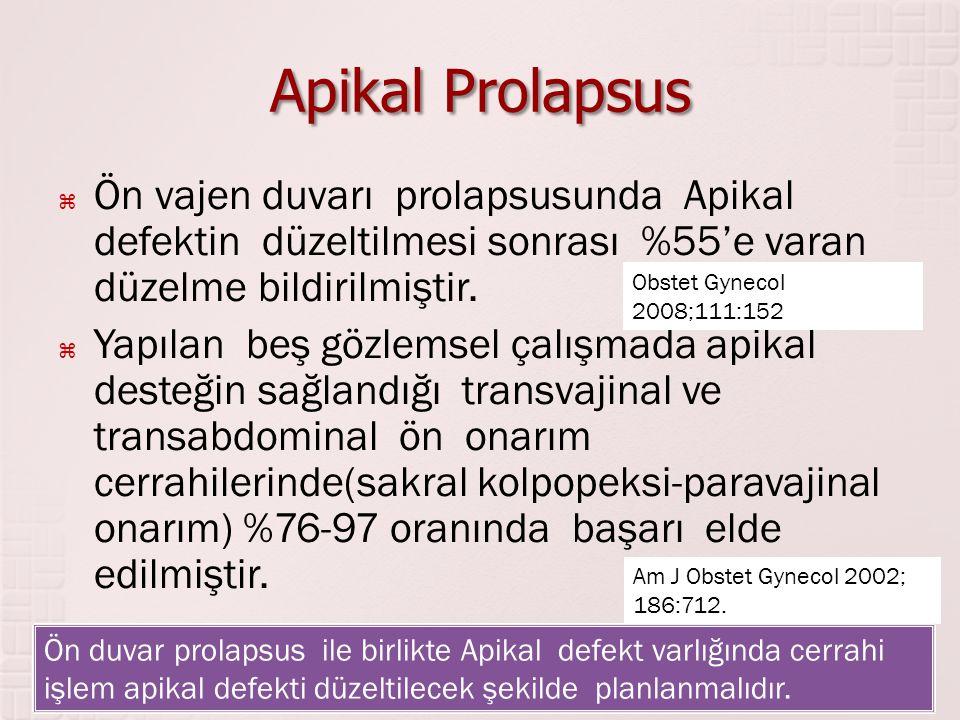 Apikal Prolapsus  Ön vajen duvarı prolapsusunda Apikal defektin düzeltilmesi sonrası %55'e varan düzelme bildirilmiştir.  Yapılan beş gözlemsel çalı