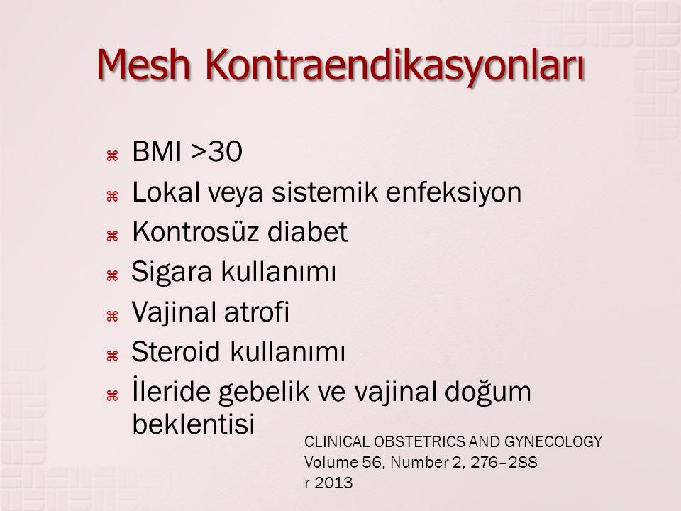 Mesh Kontraendikasyonları  BMI >30  Lokal veya sistemik enfeksiyon  Kontrosüz diabet  Sigara kullanımı  Vajinal atrofi  Steroid kullanımı  İler
