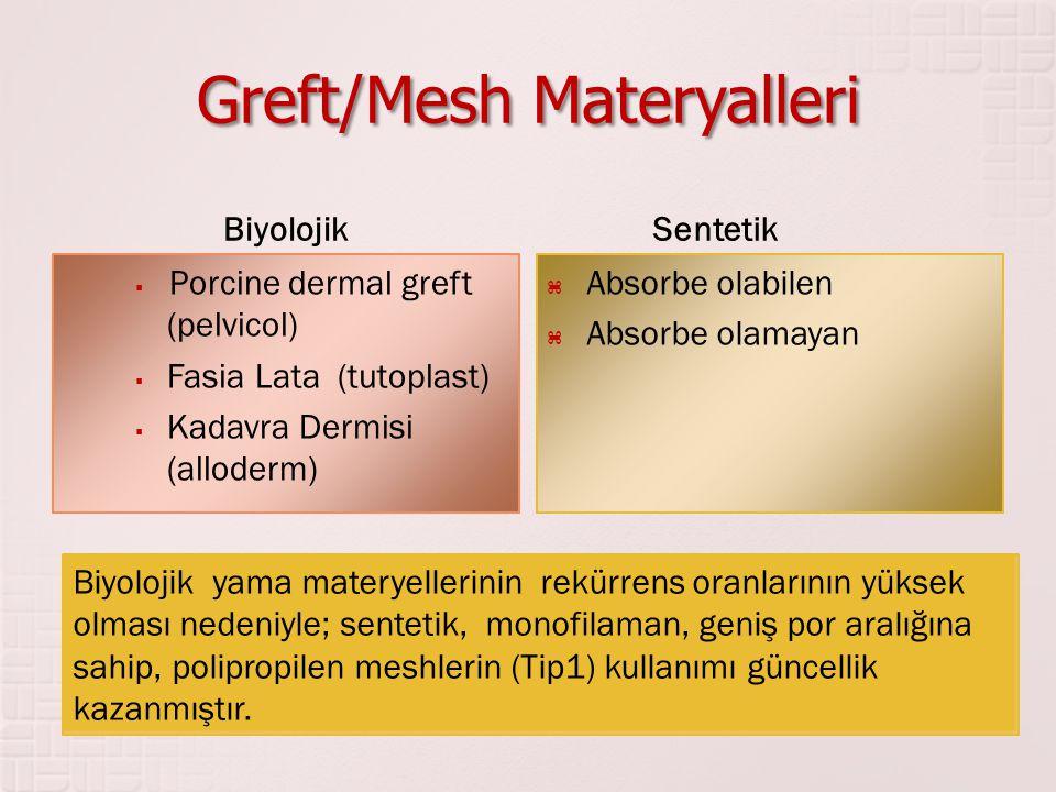 Greft/Mesh Materyalleri Biyolojik  Porcine dermal greft (pelvicol)  Fasia Lata (tutoplast)  Kadavra Dermisi (alloderm) Sentetik  Absorbe olabilen