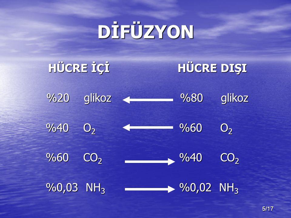 5/17 DİFÜZYON HÜCRE İÇİ %20 glikoz %40 O 2 %40 O 2 %60 CO 2 %60 CO 2 %0,03 NH 3 %0,03 NH 3 HÜCRE DIŞI %80 glikoz %80 glikoz %60 O 2 %60 O 2 %40 CO 2 %40 CO 2 %0,02 NH 3 %0,02 NH 3