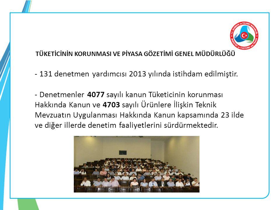 TÜKETİCİNİN KORUNMASI VE PİYASA GÖZETİMİ GENEL MÜDÜRLÜĞÜ - 131 denetmen yardımcısı 2013 yılında istihdam edilmiştir. - Denetmenler 4077 sayılı kanun T