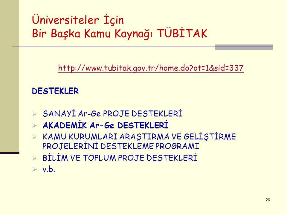 Üniversiteler İçin Bir Başka Kamu Kaynağı TÜBİTAK http://www.tubitak.gov.tr/home.do?ot=1&sid=337 DESTEKLER  SANAYİ Ar-Ge PROJE DESTEKLERİ  AKADEMİK