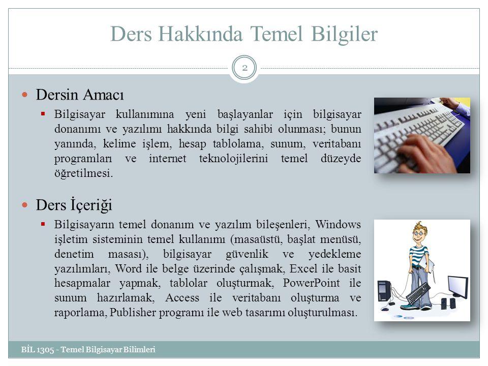 Ders Hakkında Temel Bilgiler Ders Tipi: Zorunlu Dersin Dili: Türkçe Dersin Değerlendirilmesi:  Arasınav: % 25  Lab.